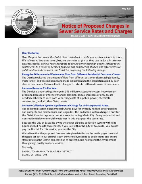May 2014 Proposition 218 Rate Notice - Page 1