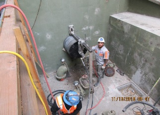 Coring hole for new disc filter pump station which is used to pump water to the disc filters.