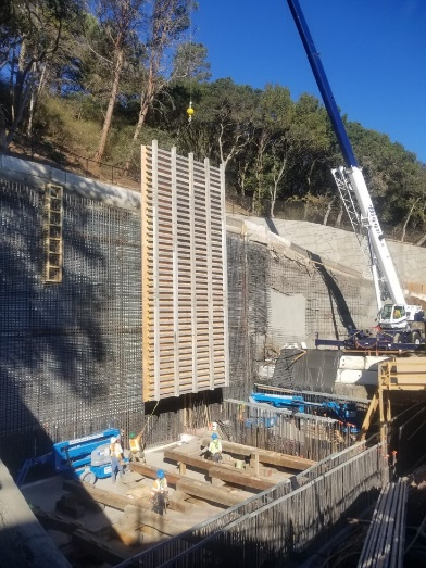 Framing of the equalization storage basin wall which required 30 inch thick concrete at the bottom.