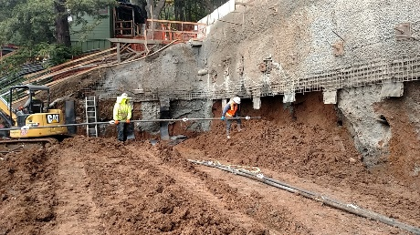 This is the lower soil nail retaining wall which was constructed to make room for the equalization storage basin.