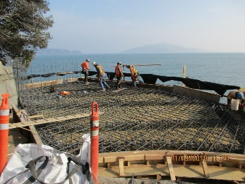 Causeway expansion (turnaround and staging area) being formed for concrete.